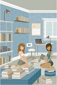 Two women studying in a messy, book-filled room. No gradients were used when creating this illustration.
