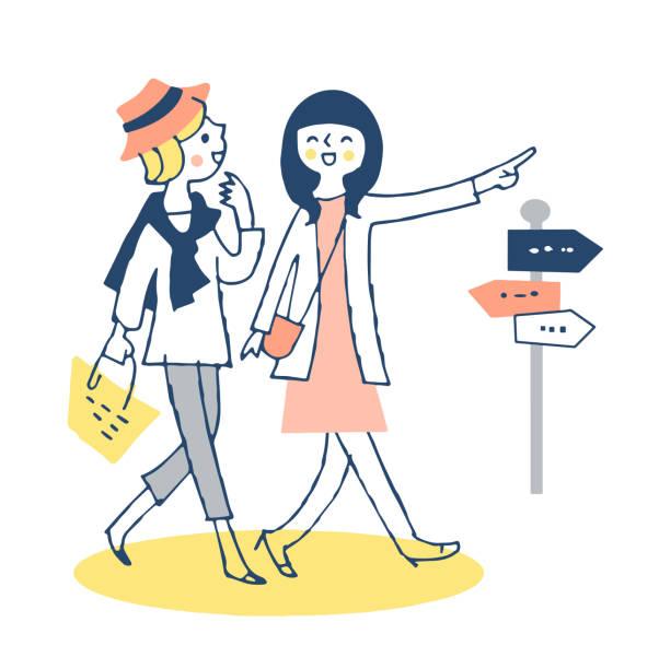 illustrazioni stock, clip art, cartoni animati e icone di tendenza di due giovani donne che camminano fianco a fianco in città - two students together asian