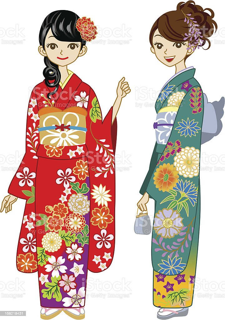 Two young women wearing Kimono royalty-free two young women wearing kimono stock vector art & more images of adult