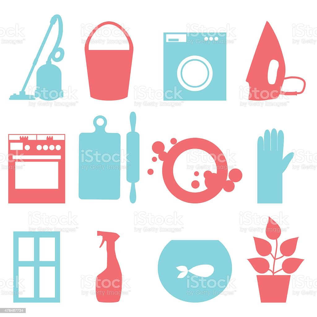 Two-color icons of house cleaning. Vector illustration vector art illustration