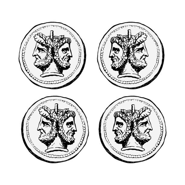 Two-faced Janus. Two male heads in profile, connected by the nape. Stylization of the ancient Roman coin. Two-faced Janus. Two male heads in profile, connected by the nape. Stylization of the ancient Roman coin. Graphical design. Vector illustration. ancient stock illustrations