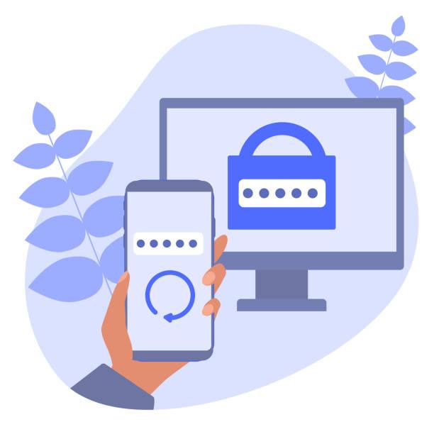 2 단계 인증 모바일 앱. rsa 토큰 모바일 앱. 보안을위한 크립토 시스템. 이중 인증 소프트웨어. 벡터 개념 그림입니다. - 토큰 stock illustrations