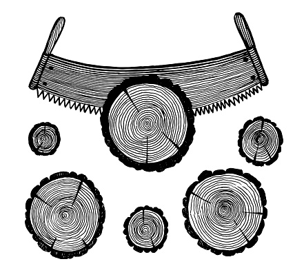 Two-handed saw and logs, vector illustration. Vintage graphics and handwork