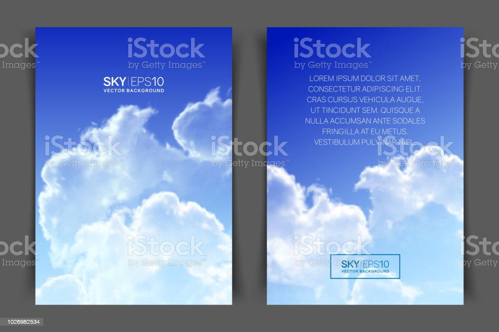 twosided vertical flyer of a4 format with realistic blue sky stock