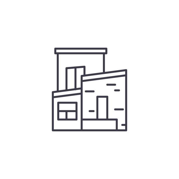 兩層樓的線性圖示概念。兩層住宅線向量符號, 符號, 插圖。向量藝術插圖