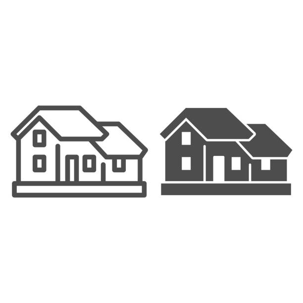 ilustrações de stock, clip art, desenhos animados e ícones de two-story house line and solid icon. double floor home residential cottage symbol, outline style pictogram on white background. building sign for mobile concept and web design. vector graphics. - isolated house, exterior