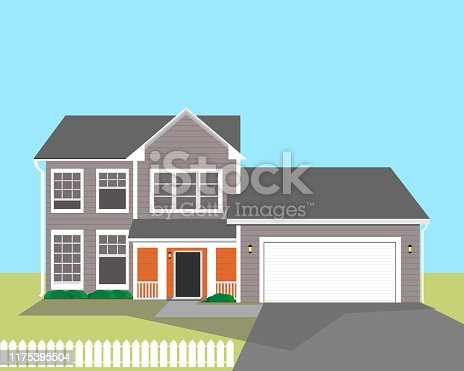 istock Two-story residential building with an American-style garage. Vector illustration. 1175395504