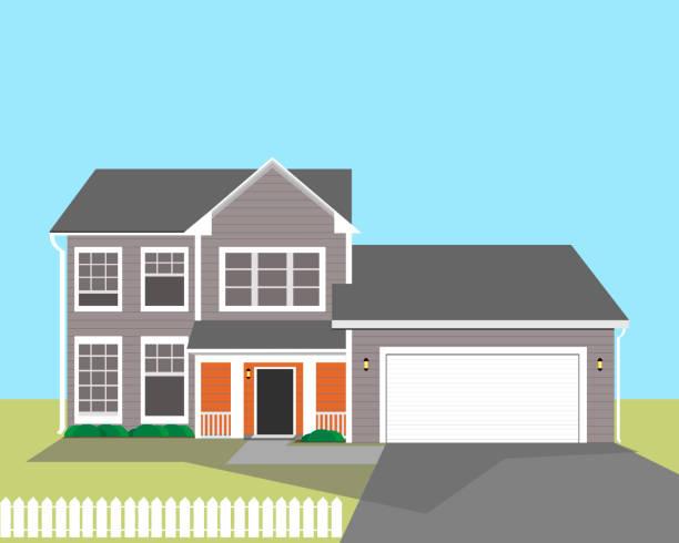 ilustrações, clipart, desenhos animados e ícones de edifício residencial de dois andares com uma garagem de estilo americano. ilustração do vetor. - exterior
