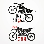 Two-stroke motorcycle logo in silhouette style. Two-stroke cross motorcycle with sample text. Two-stroke motorcycle vector stock illustration. Set of two two-stroke motorcycle emblems.