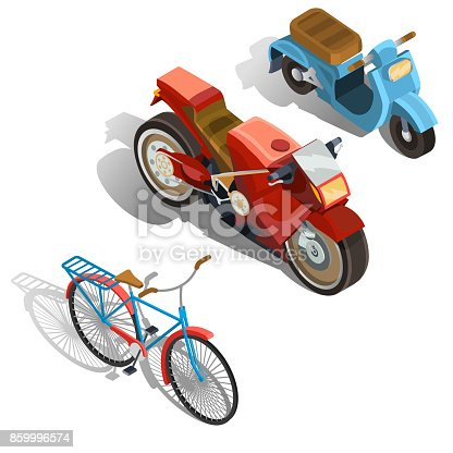 Set of old-fashioned and modern two-wheeled transport isometric projection vector illustration isolated on white background. Vintage scooter, powerful sport bike, retro bicycle design element or icon