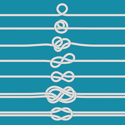 Tying knot. Nautical tied rope knots, marine ropes and wedding cordage divider vector illustration set
