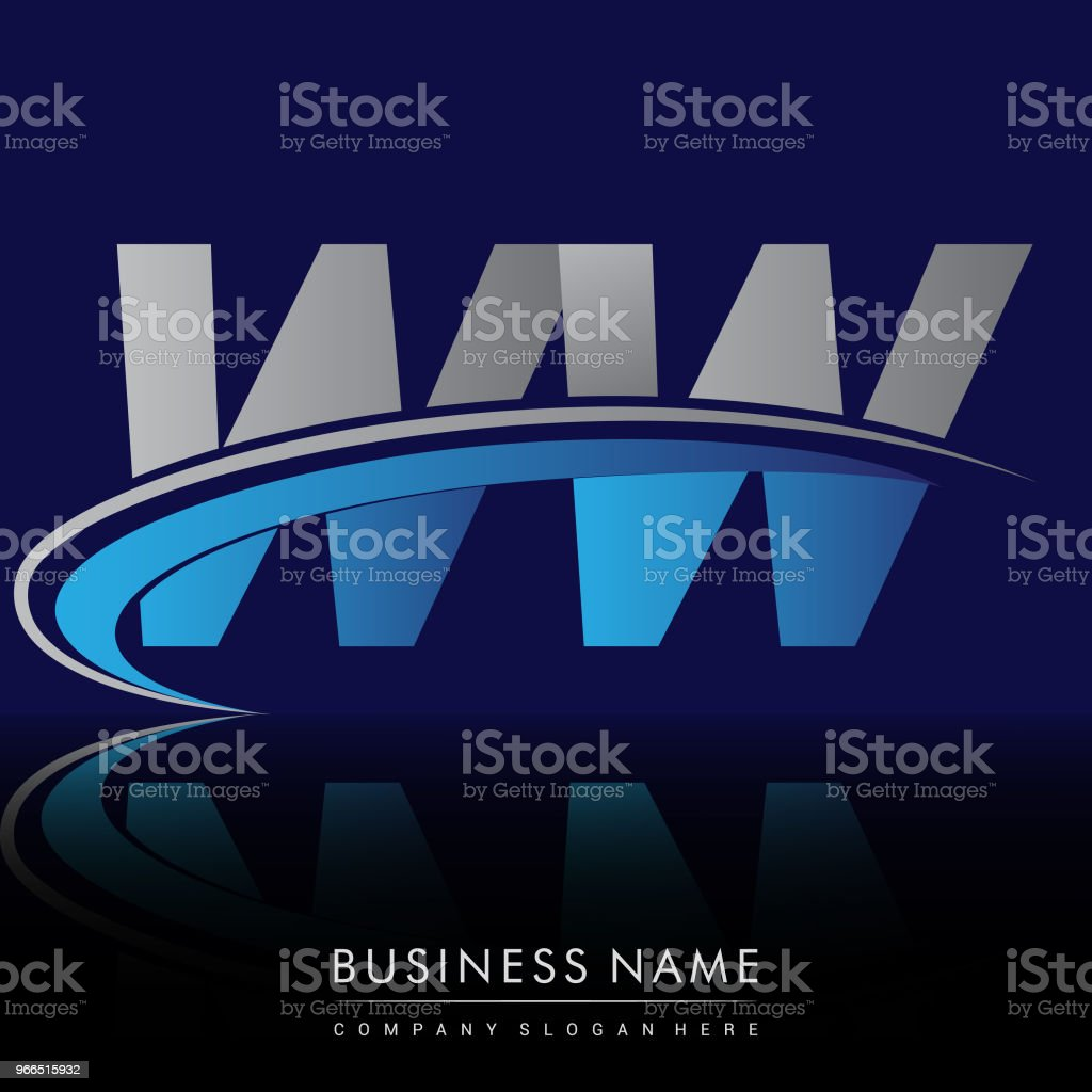 Type Company Name Colored Blue And Grey Swoosh Design Stock