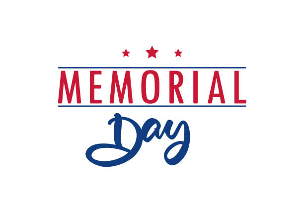 type lettering composition of memorial day on white background - memorial day weekend stock illustrations
