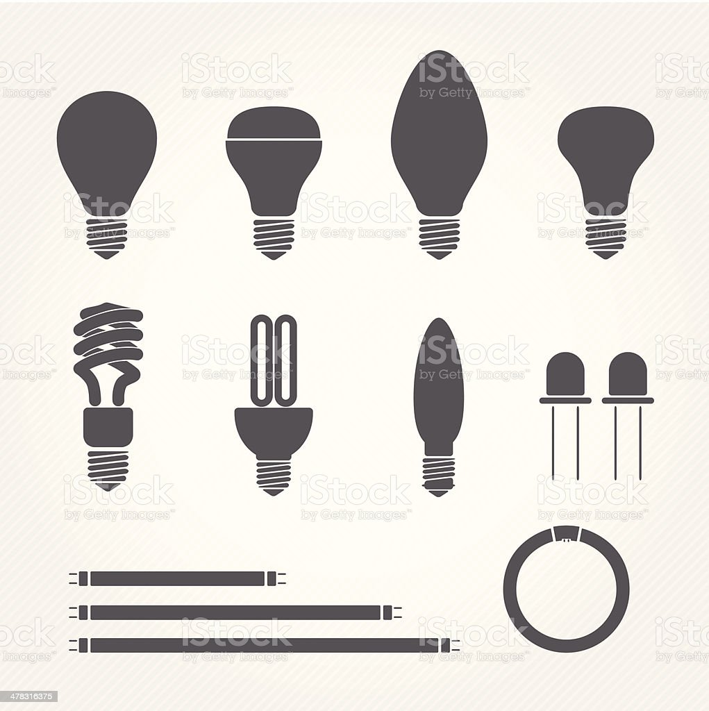 type of bulbs icons vector art illustration