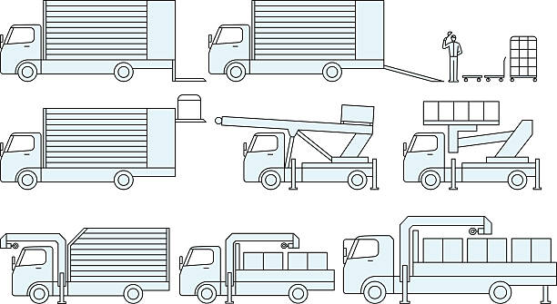 bildbanksillustrationer, clip art samt tecknat material och ikoner med type of cargo moving truck and transportation - skylift