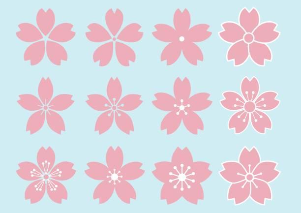 桜の花のデザインの 12 種類 - 桜点のイラスト素材/クリップアート素材/マンガ素材/アイコン素材