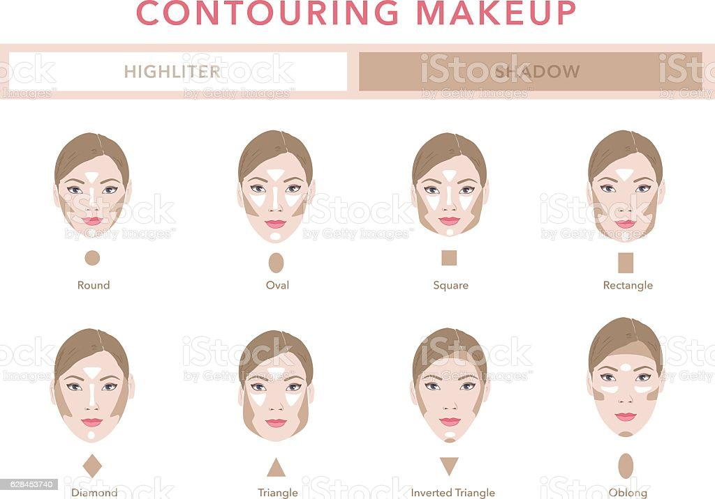 Type of faces. Contouring tutorial vector vector art illustration