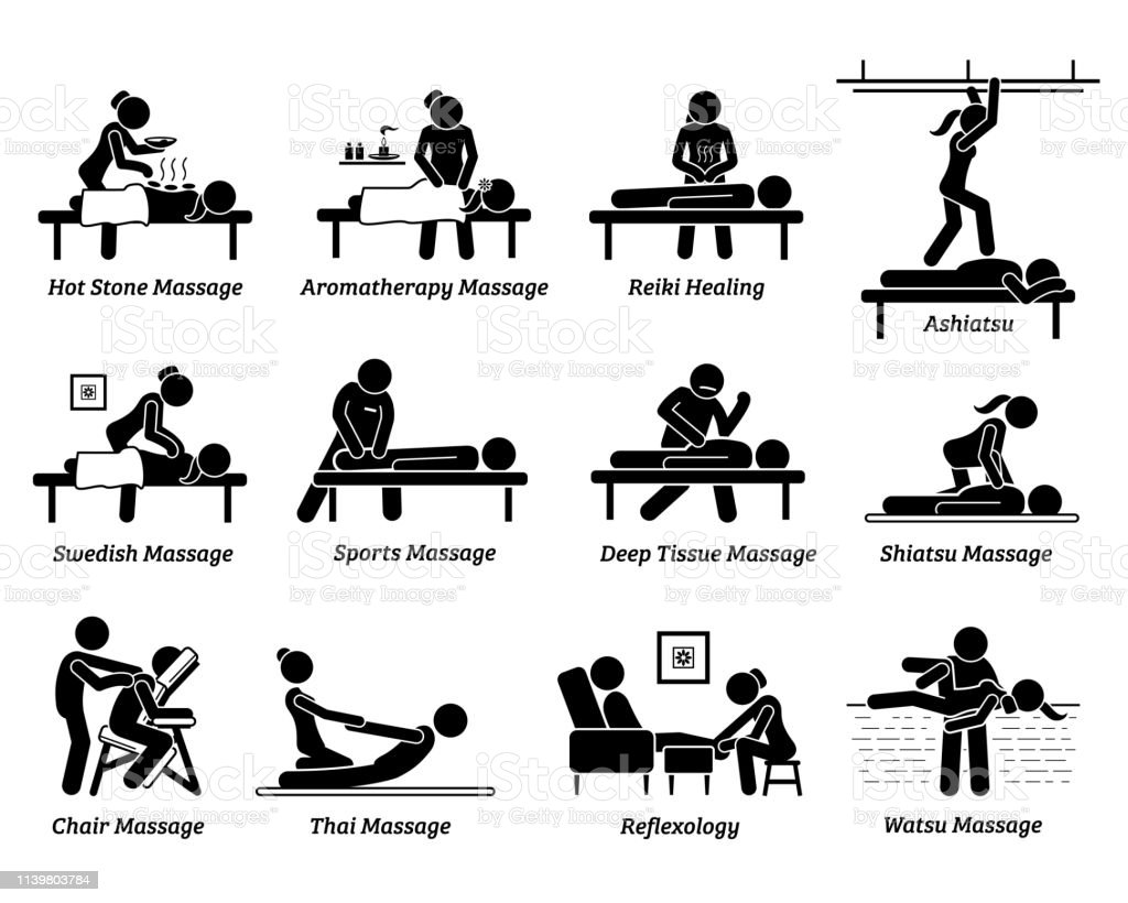Type Of Massages And Therapies Stock Illustration - Download Image