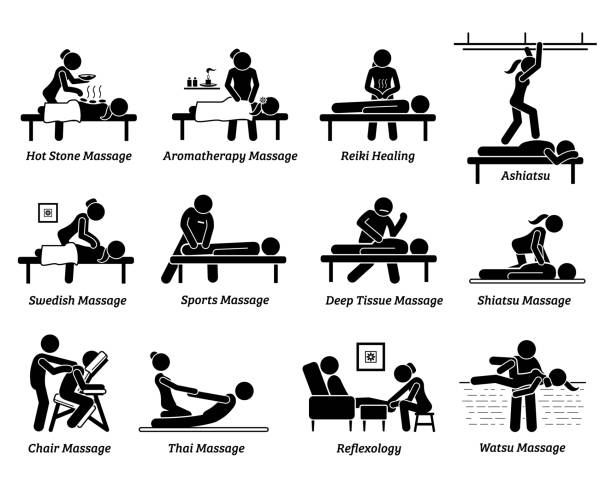 type of massages and therapies. - massage stock illustrations