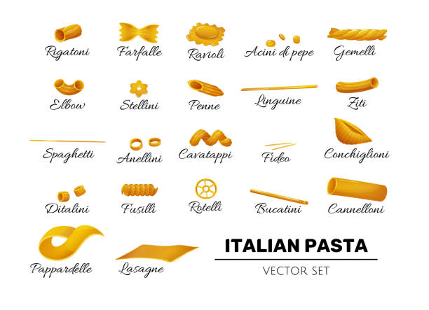 Type of pasta icons, italian set in cartoon style Type of pasta icons, italian pasta set in flat cartoon style. Isolated elements for italian cusine decoration, labels, designs. Vector illustration on white cannelloni stock illustrations