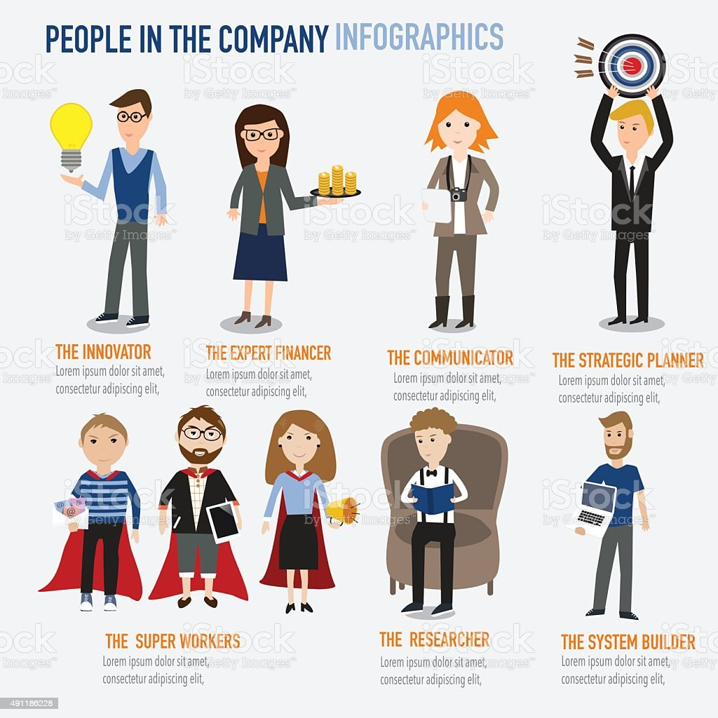 Type of people working in the company vector art illustration