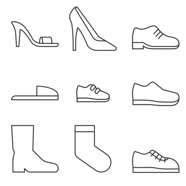type of shoes collection icon - old man shoes stock illustrations, clip art, cartoons, & icons