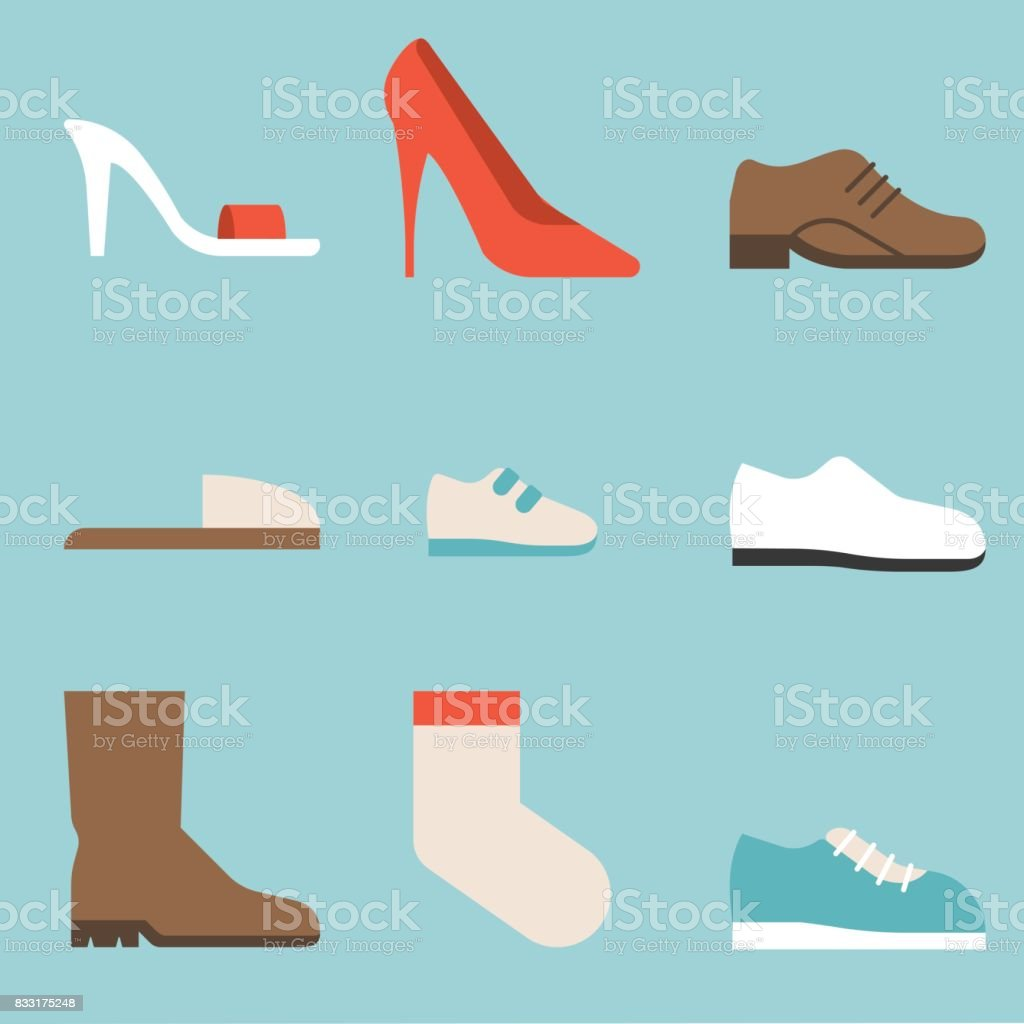 type of shoes collection icon, women's shoes such as high heels and sandal, boots, men's shoes, children and baby, sneakers, slipper, socks, suitable for use in department store, flat design icon vector art illustration