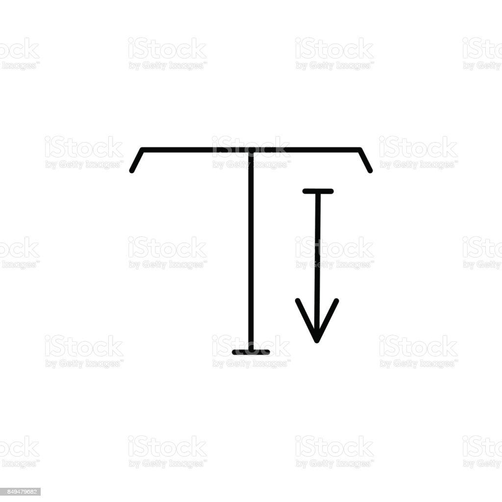 type tool down arrow icon vector art illustration