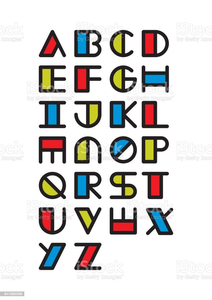 Schrift Von Einfachen Geometrischen Formen Inspiriert Abstrakte ...
