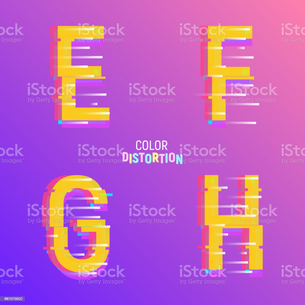 Typeface with glitch effect. Font with chromatic aberartion color effect royalty-free typeface with glitch effect font with chromatic aberartion color effect stock vector art & more images of alphabet