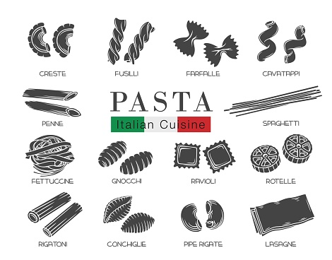 Types Italian pasta glyph icon