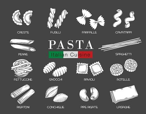 Types Italian pasta glyph white on black