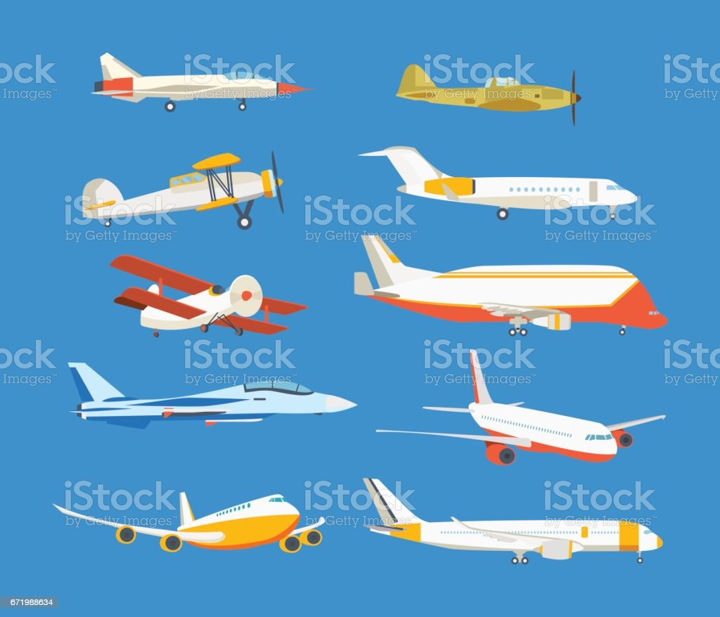 Types of airplane passenger, civil, airbus, military, biplane, airplane high-rise vector art illustration