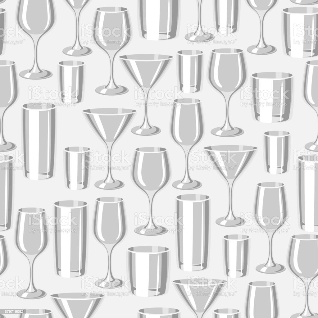 types of bar glasses seamless pattern with alcohol glassware stock vector art more images of. Black Bedroom Furniture Sets. Home Design Ideas