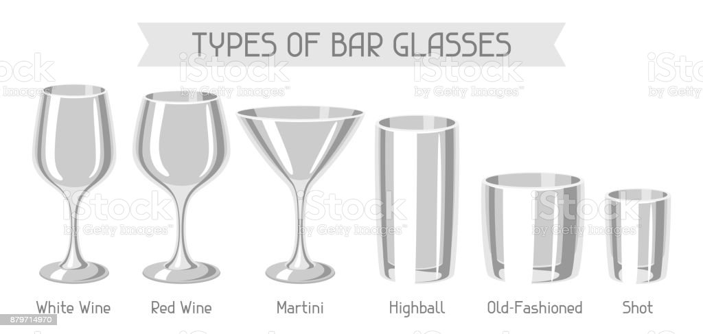 Marvelous Types Of Bar Glasses. Set Of Alcohol Glassware Royalty Free Types Of Bar  Glasses