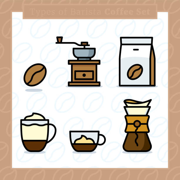 ilustrações de stock, clip art, desenhos animados e ícones de types of barista coffee colored icon set and colored vector illustration - 3 - café solúvel