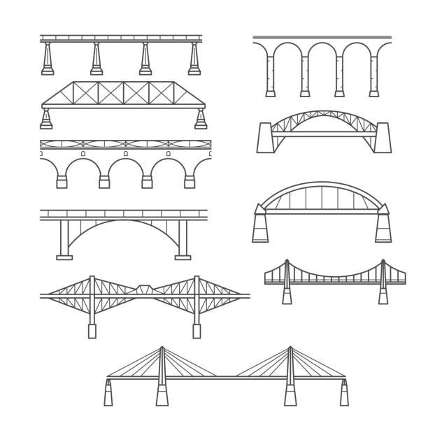 유형의 선형 스타일에 교량-교량의 infographic 아이콘 설정 - bridge stock illustrations