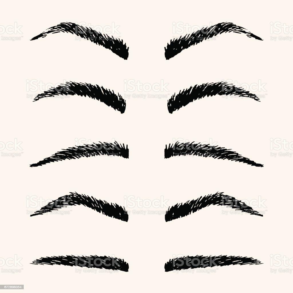 Arten von Brauen Vektor-Illustration. Vorlage-Hand-Zeichnung-Augenbraue – Vektorgrafik
