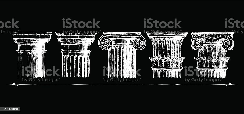 Types of capital. Classical order. vector art illustration
