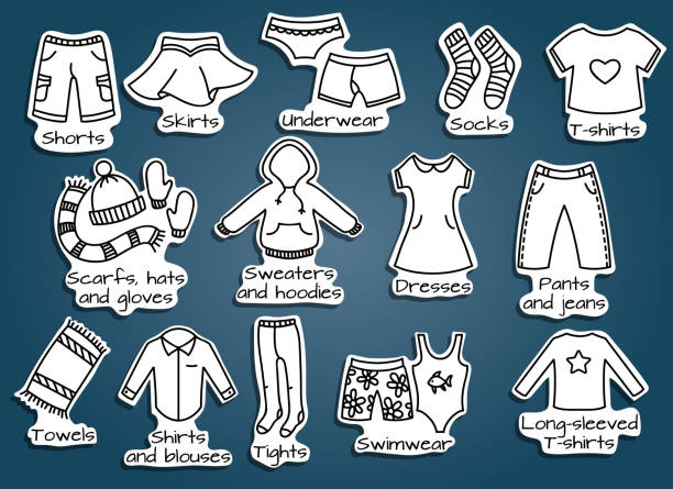 types of clothes, vector icons Types of casual clothes, doodle outline illustration. Vector icons. Useful stickers for the boxes with a kids wear. little girls in panties stock illustrations