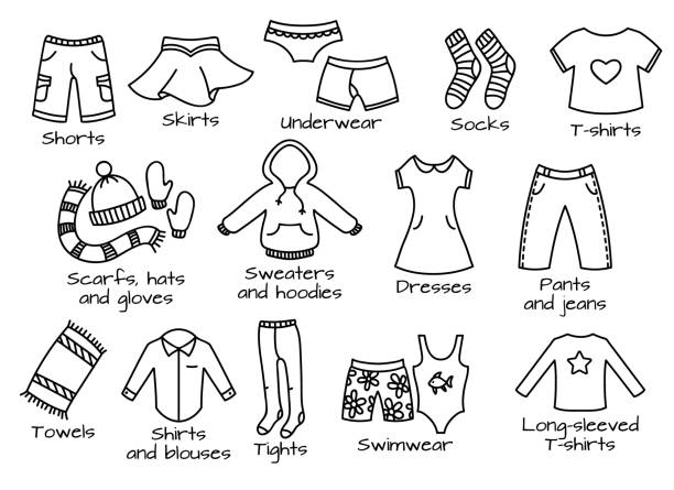 types of clothes, vector icons Types of casual clothes, doodle outline illustration. Vector icons. little girls in panties stock illustrations