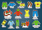 Types of casual clothes, doodle illustration. Vector icons. Useful colorful stickers for the boxes with a kids wear.