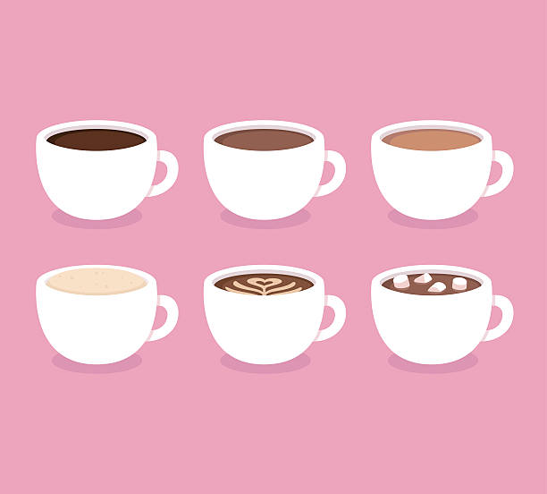 types of coffee cups set - coffee stock illustrations, clip art, cartoons, & icons