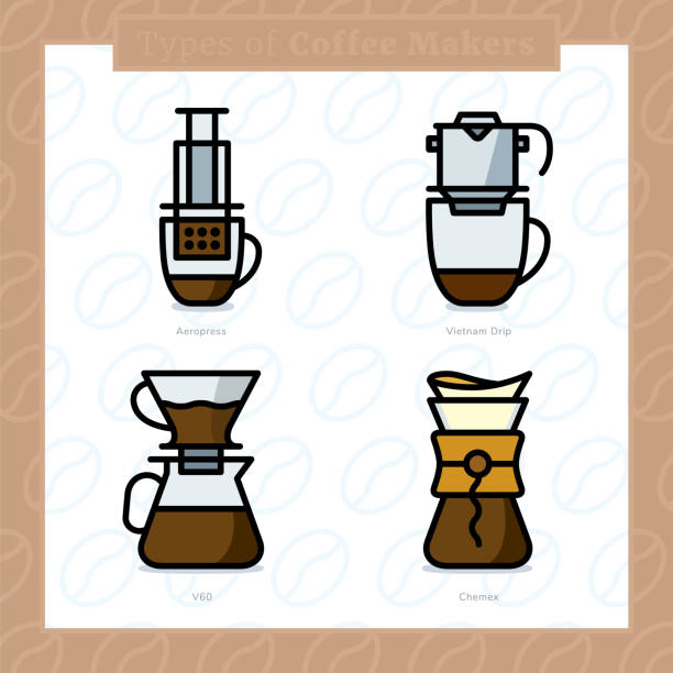 ilustrações de stock, clip art, desenhos animados e ícones de types of coffee makers colored icon set and colored vector illustration - 2 - café solúvel