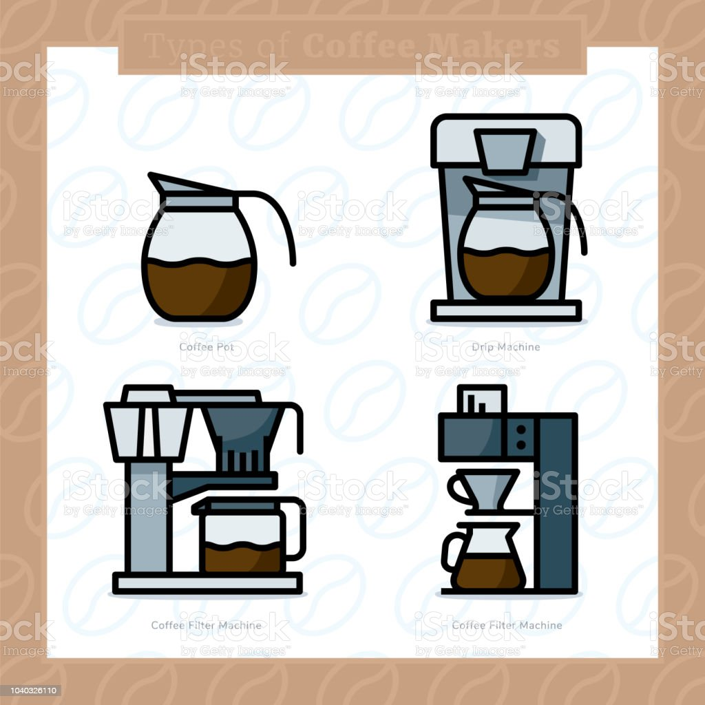 Types of coffee makers colored icon set and colored vector illustration - 6 - Royalty-free Bar - Local de entretenimento arte vetorial