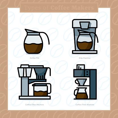 Types Of Coffee Makers Colored Icon Set And Colored Vector Illustration 6 - Arte vetorial de stock e mais imagens de Bar - Local de entretenimento