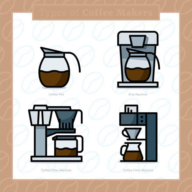 ilustrações de stock, clip art, desenhos animados e ícones de types of coffee makers colored icon set and colored vector illustration - 6 - café solúvel