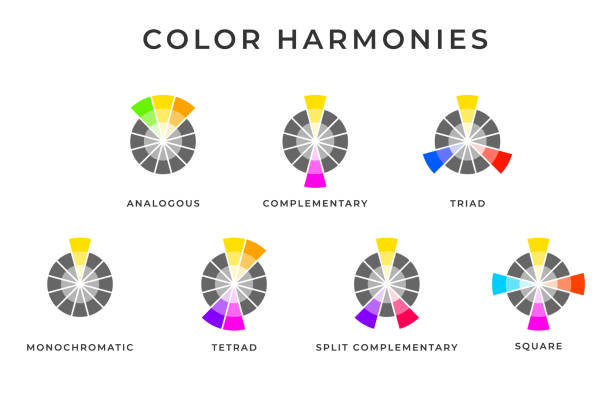 illustrazioni stock, clip art, cartoni animati e icone di tendenza di types of color mixing harmonies memo design. - ruota dei colori