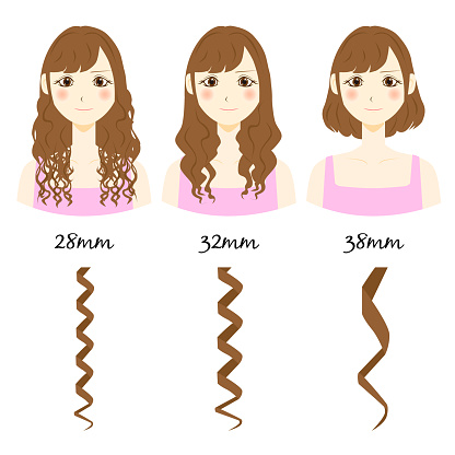 types of curly hair. vector illustration