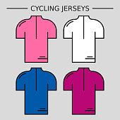 Types of cycling jerseys. Four linear simple icons of main jerseys of cycling championship. Pink, cyclamen, blue and white pullovers isolated on light grey background.